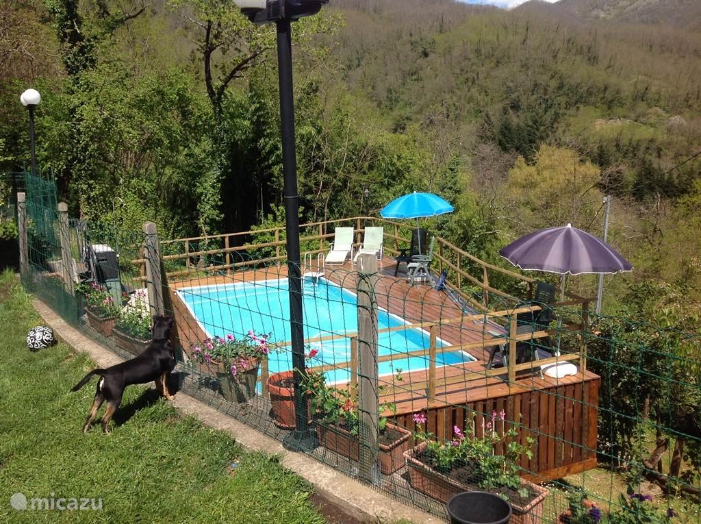 zwembad met terras en uitzicht