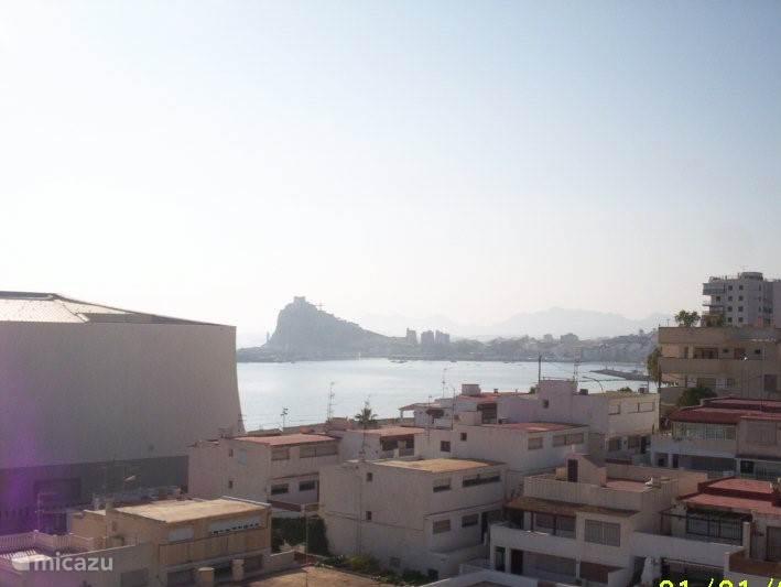 uitzicht vanaf dakterras 5e verdieping naar het kasteel