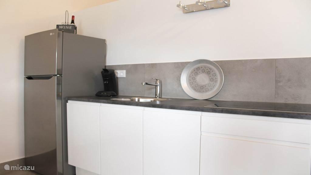 Keuken met keramische kookplaat, combi magnetron en koelkast
