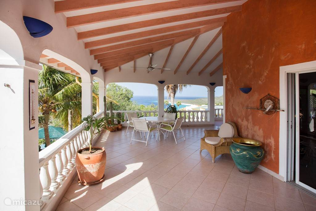 A spacious balcony around the villa with spectacular views.