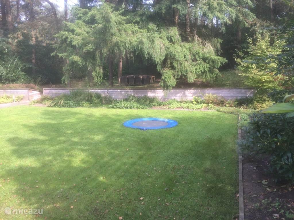 Achtertuin met (kleine) trampoline