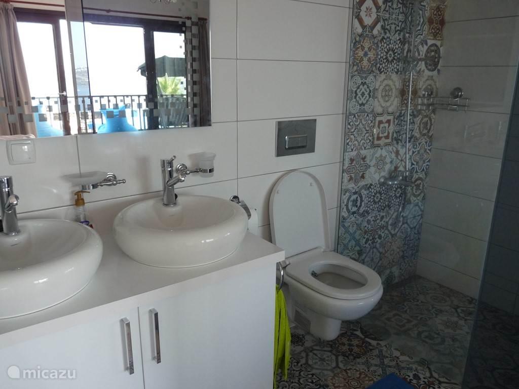 Badkamer van de Masterslaapkamer op de 1ste verdieping voorzien van een inloopdouche, dubbelewasbak en WC