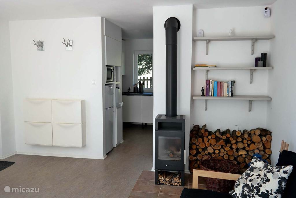 Fireplace and access to the kitchen