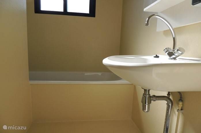 Badkamer 1 met ligbad en wastafel. In badkamer 2 is de inloopdouche , toilet en wastafel.