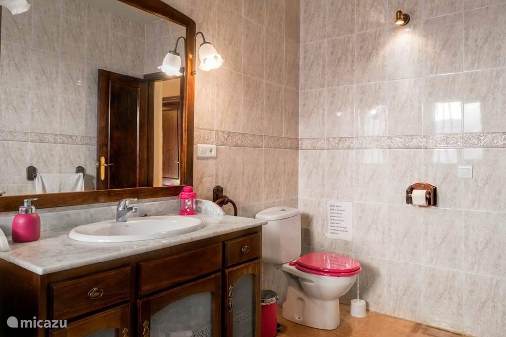 De roze badkamer met de wastafel in een antieke kast.