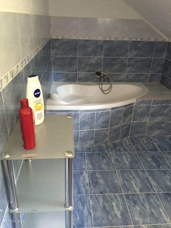 Badkamer boven, bad en wastafel + toilet
