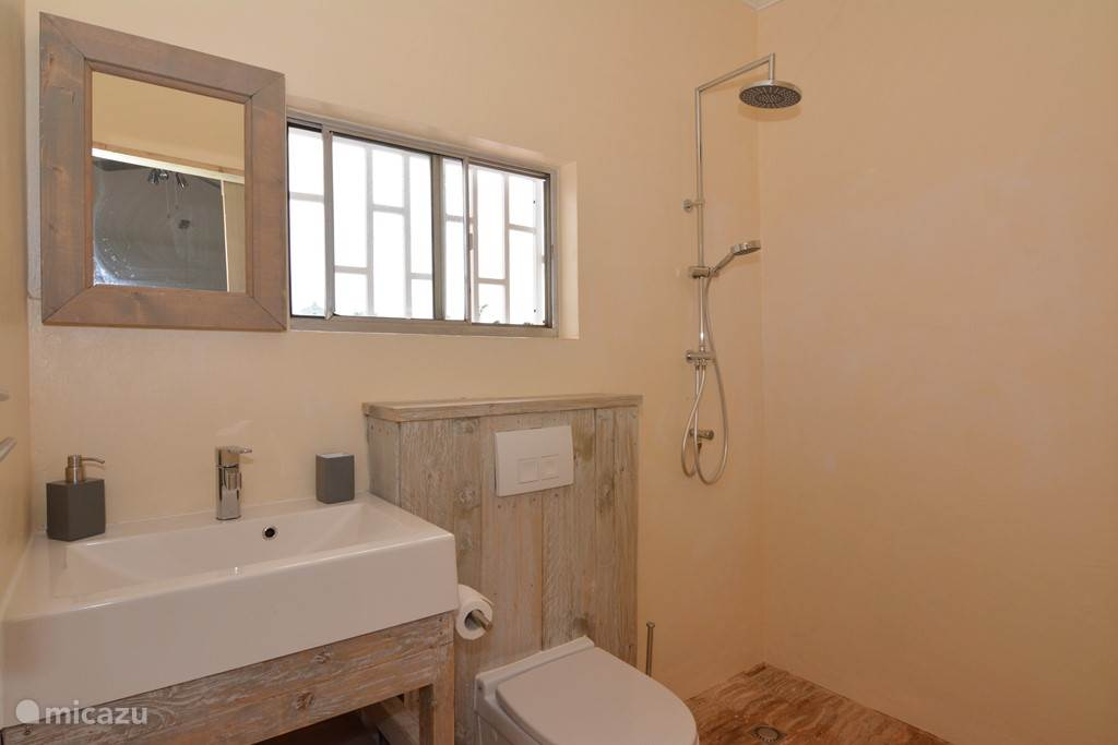 Das Bad mit der Dusche heißes und kaltes Wasser