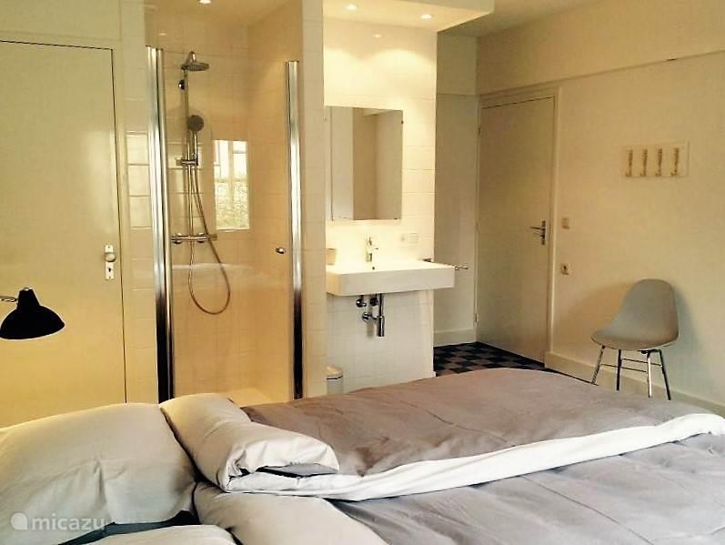 slaapkamer beneden met douche en wastafel