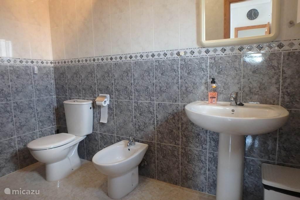 Badkamer boven, met douche, bidet, toilet, wastafel, verwarming. Direct verbonden met slaapkamer.