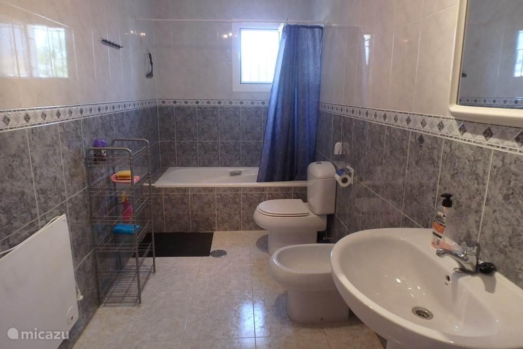 Badkamer beneden met bad, douche, bidet, toilet, wastafel en verwarming.
