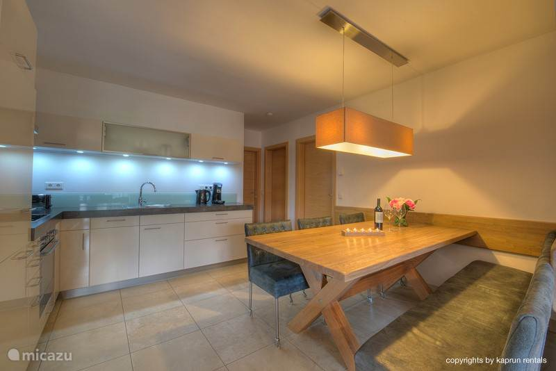 The spacious kitchen and dining table.