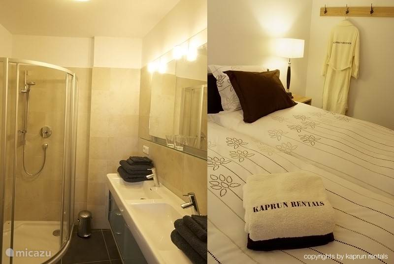 High comfort in both the bedroom and in the bathroom.
