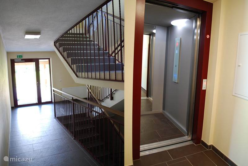 Both stairs and an elevator