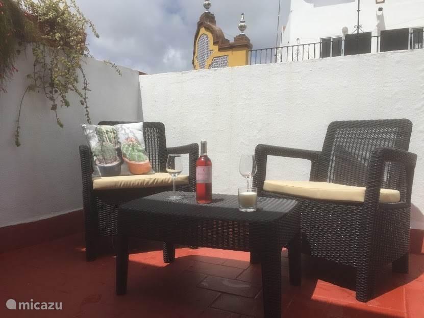Het heerlijke terras waar u kunt genieten van het bijna altijd mooie weer van Sevilla