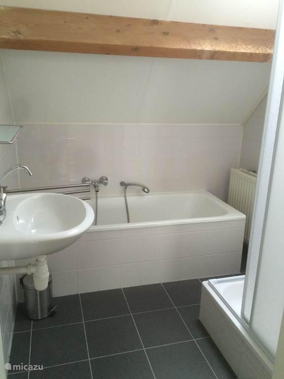 De badkamer met ligbad en douche
