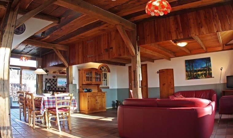 Woonkamer vanaf de andere kant, met grote eettafel, en open keuken.