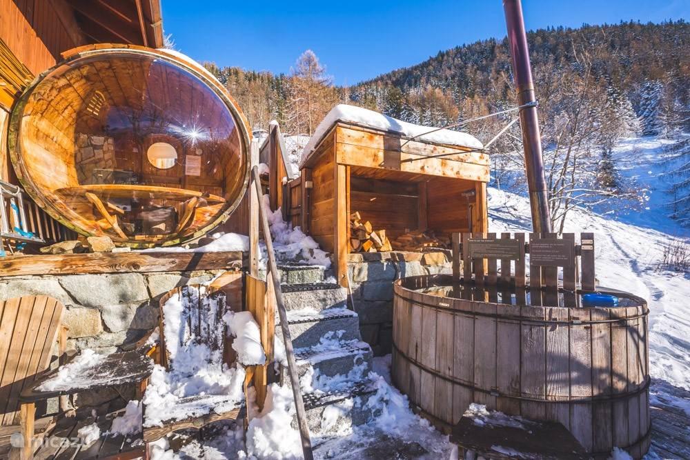 Outdoor sauna and hot tub