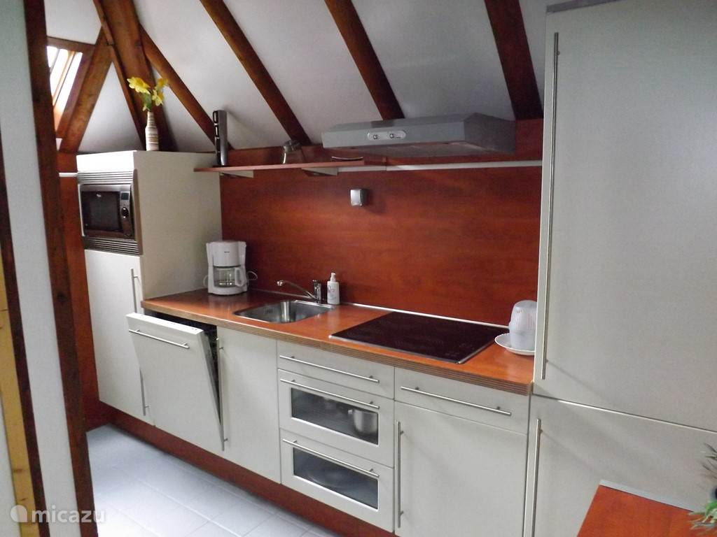 Modern kitchen with microwave, ceramic hob, dishwasher, refrigerator with freezer compartment