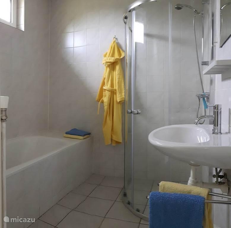Badkamer met bad, douchecabine en wastafel