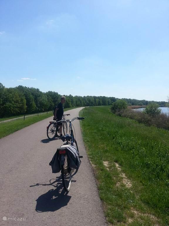 Op de dijk rond het Tiszameer kun je heerlijk fietsen, vaak op maar een paar meter van het meer. Ruim 70 kilometer fietsplezier.