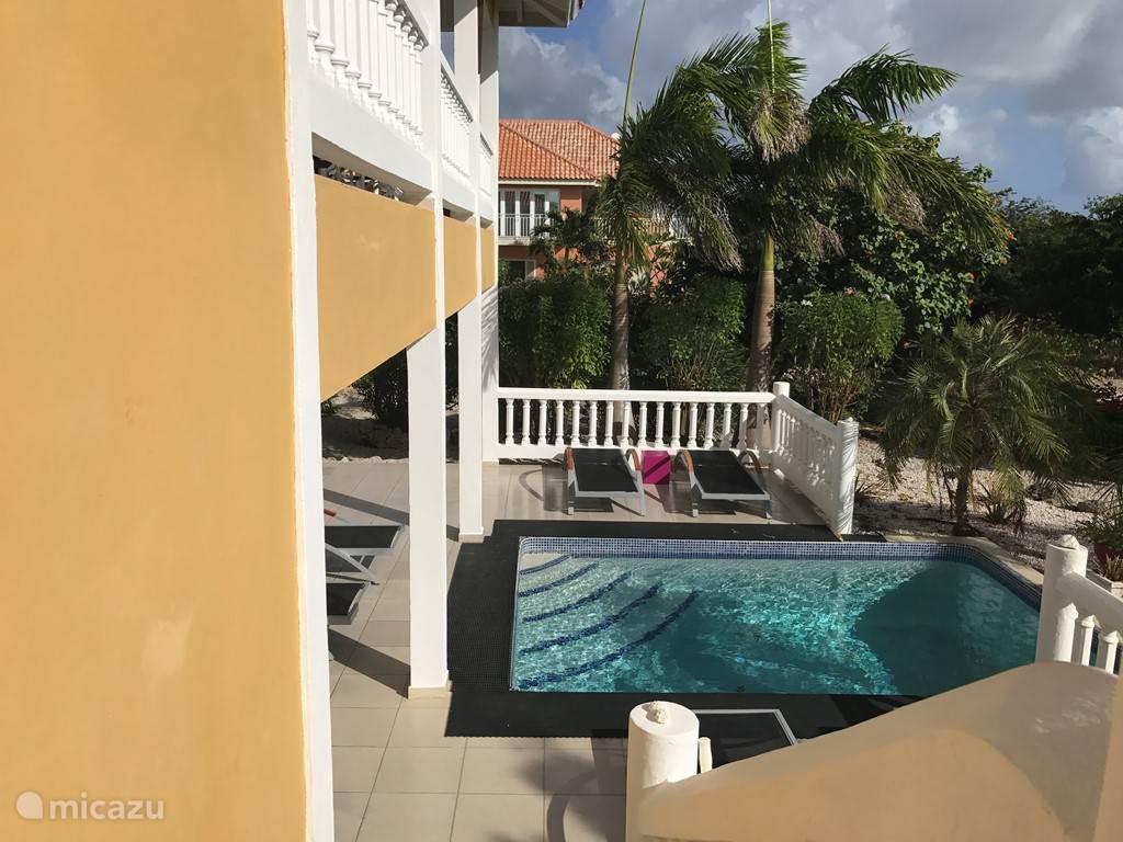 het zwembad en pooldeck grenst aan de twee slaapkamers op de begane grond