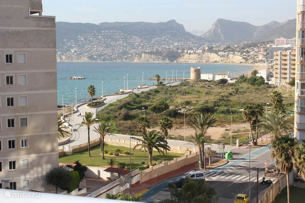prachtig zicht vanop het terras op de Middellandse zee en het strand El Arenal