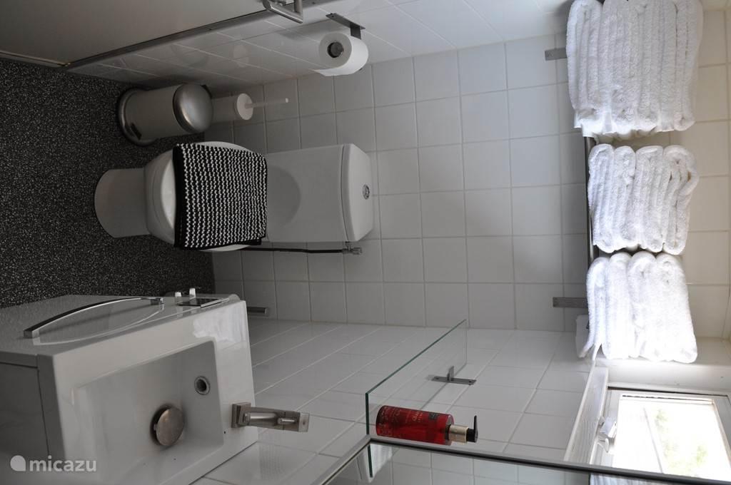 Toilet met wastafel en stapel heerlijk zachte Hotel handdoeken