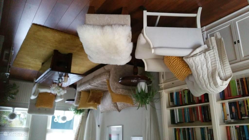 2e woonkamer met TV en boekenkast