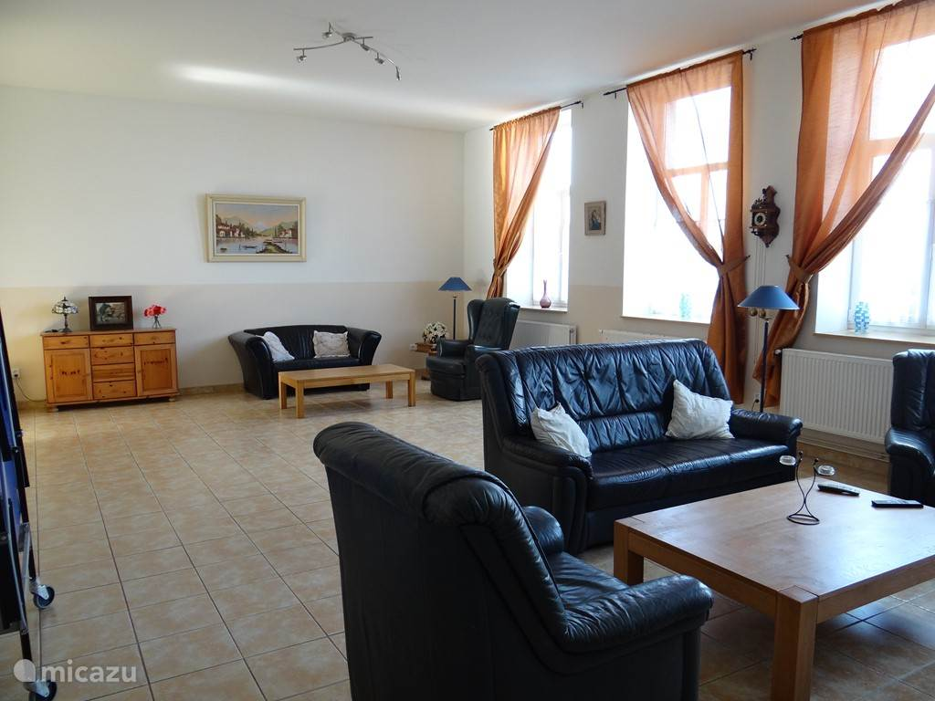 woonkamer met houtkachel en nl tv