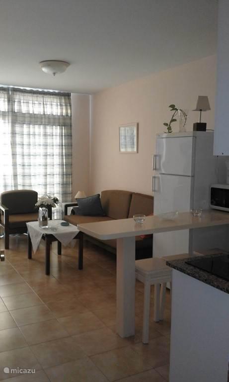 Wohnzimmer mit offener Küche.