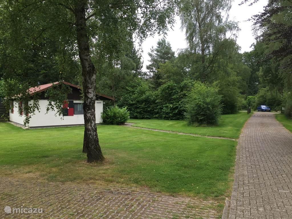Een groot gazon voor en naast de woning