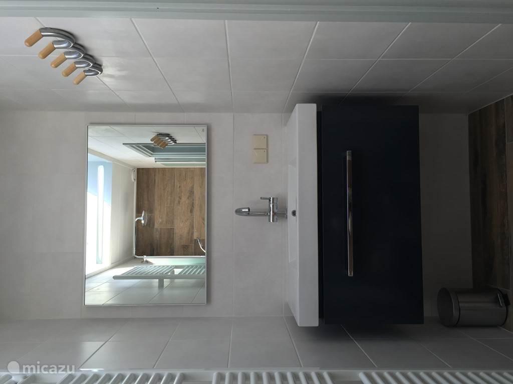 Badkamer met grote wastafel.