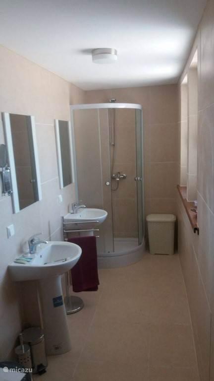 Badkamer met douche en toilet en dubbele wastafel