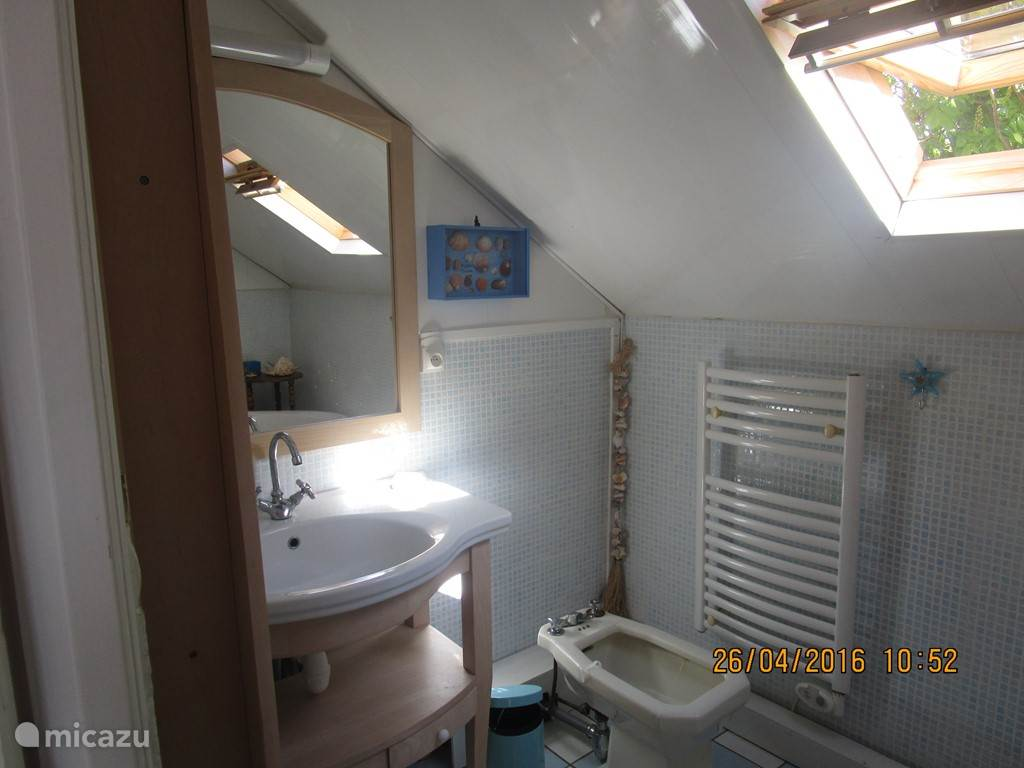 badkamer grote slaapkamer met ligbad op pootjes wastafel bidet en handdoek radiator