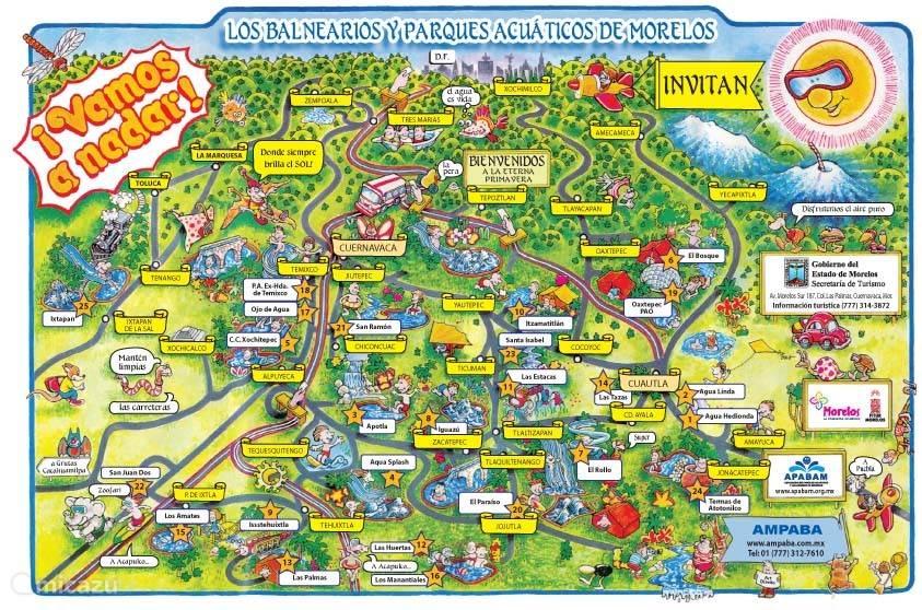 Badplaatsen en Waterpretparken in de Staat Morelos