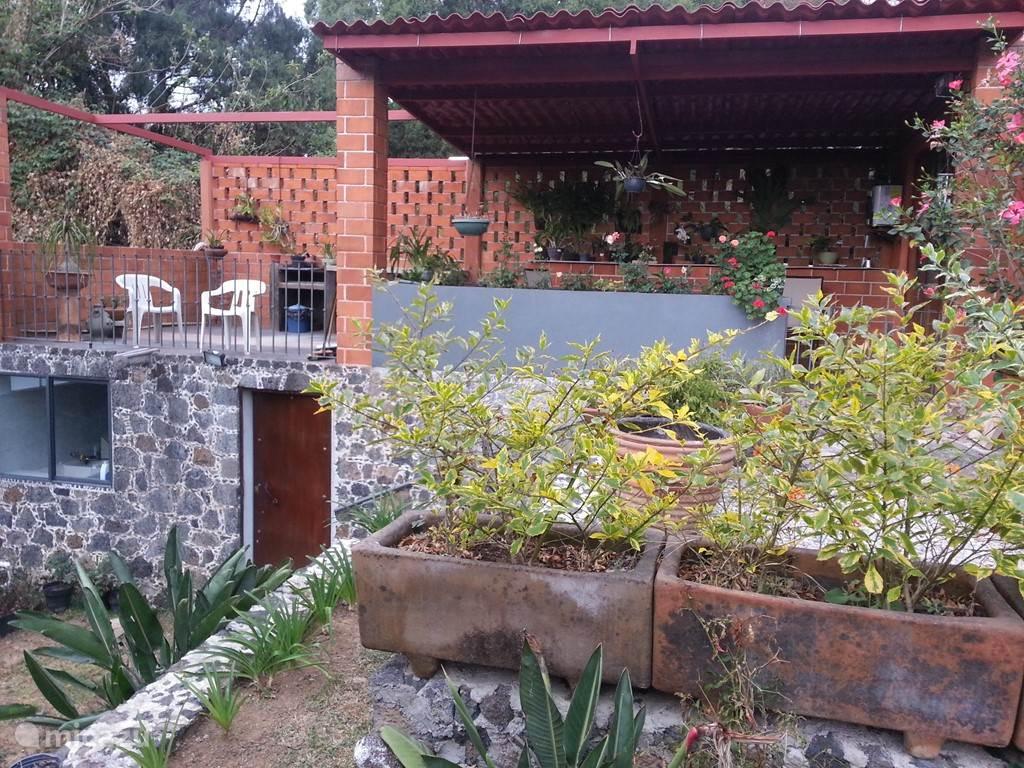 Zij-aangezicht met tuintje, terras en berging / washok