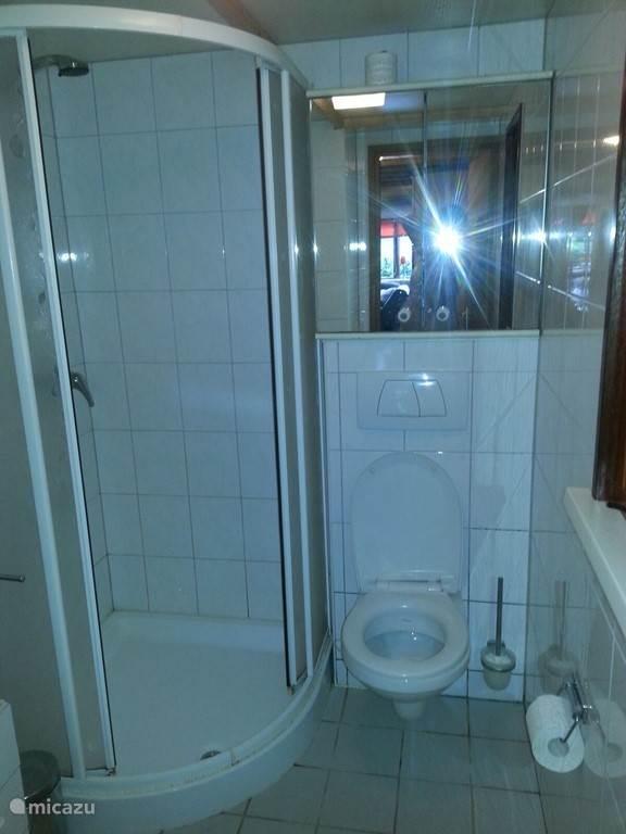 Badkamer met ruime douche & toilet.