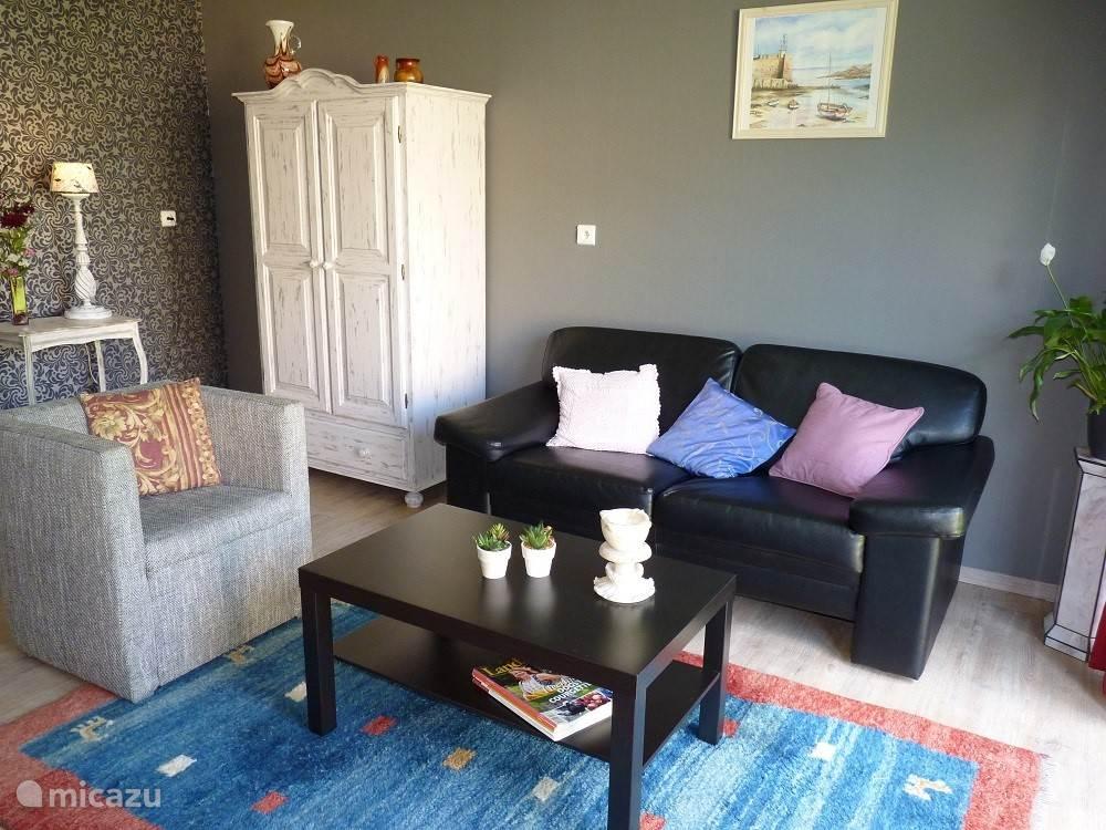 Op de begane grond is nog een aparte studio met woonkamer, keuken, slaapkamer en badkamer