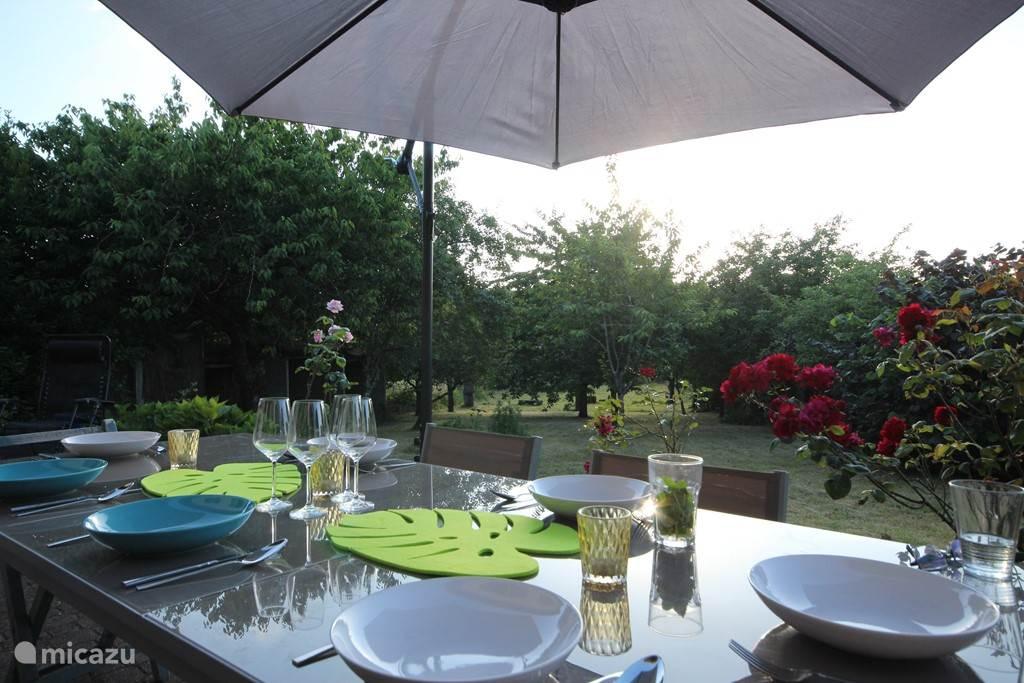 Terras met uitzicht over de tuin