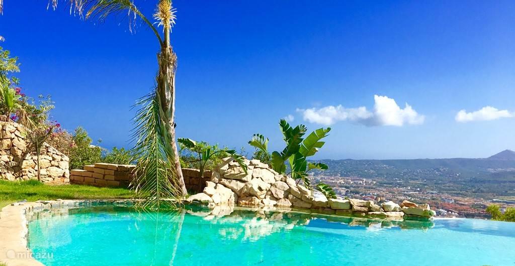 Uniek zwembad in de regio, infitnity met strandinloop en tropische elementen