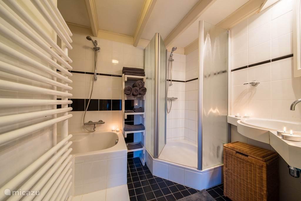 de badkamer, gescheiden bad en douche