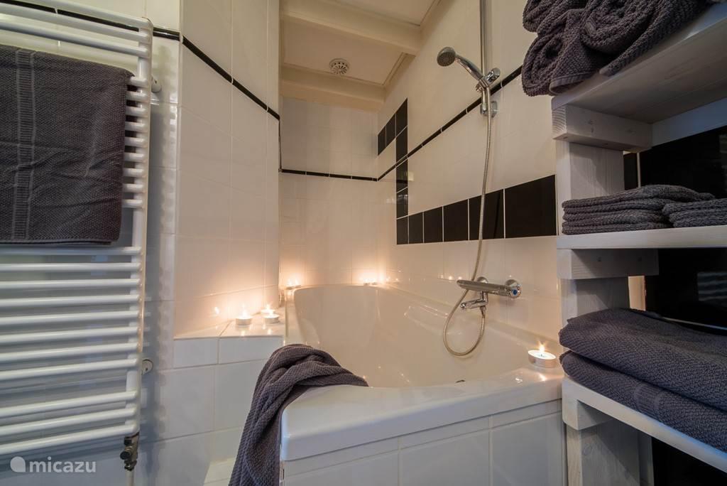 de badkamer, gescheiden ligbad en douche