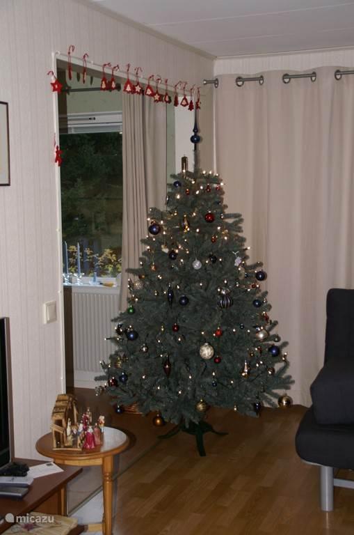 We hebben zelfs kerstversiering in huis.