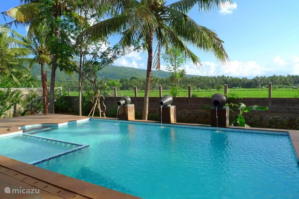 Villa Mimosa zwembad uitkijkend over de rijstvelden