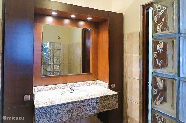 Badkamer met douche en toilet aangrenzend aan de tweede kamer. De tweede badkamer is gelijk aan deze badkamer.