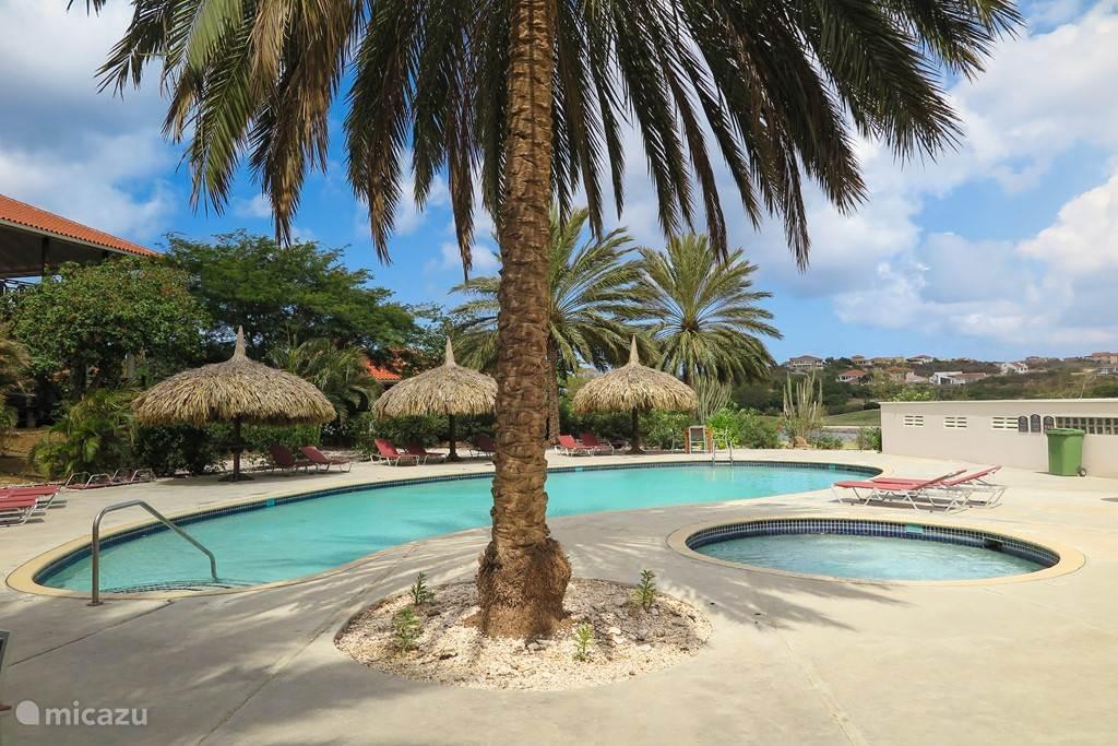 Zelfde mooie zoetwaterzwembad met uitzicht op tuin en golfbaan
