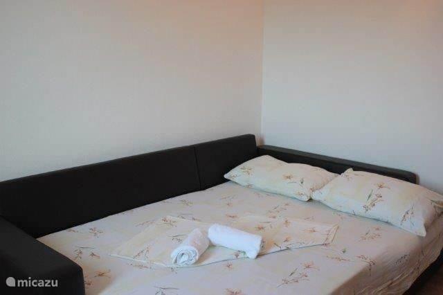 woonkamer met extra bed