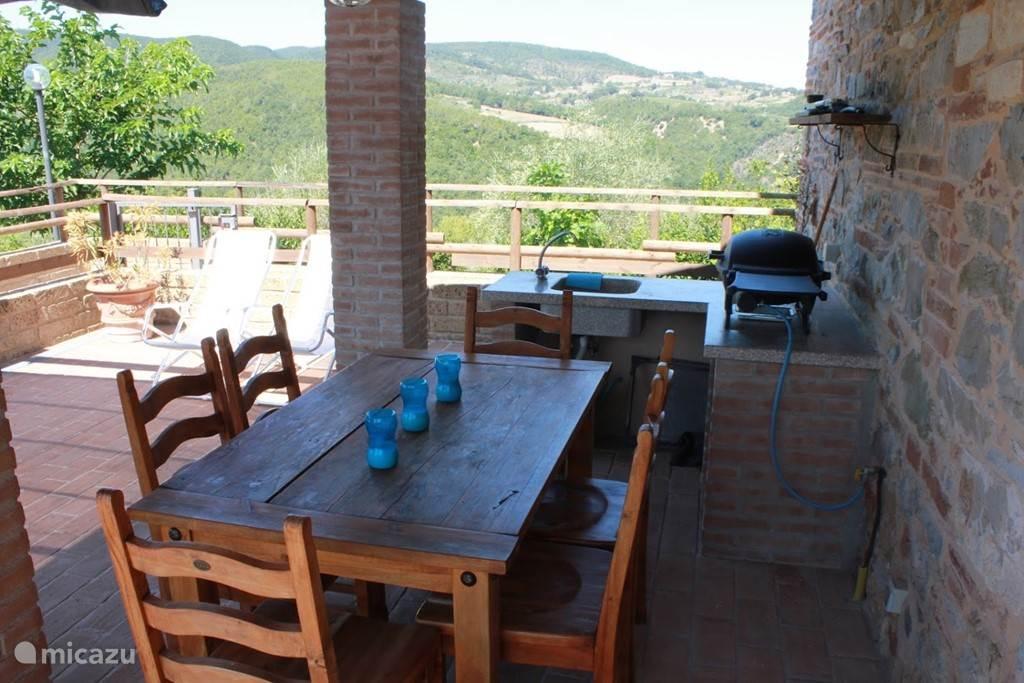 Privé terras met barbecue en buitenkeuken onder overkappeing