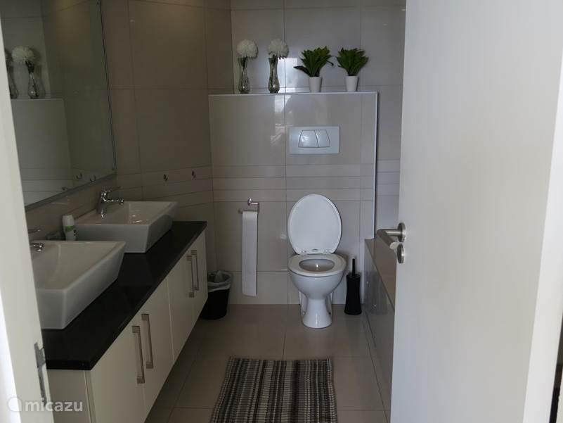 badkamer hoofdslaapkamer. rechts bevindt zich nog een bad met losse douchecabine