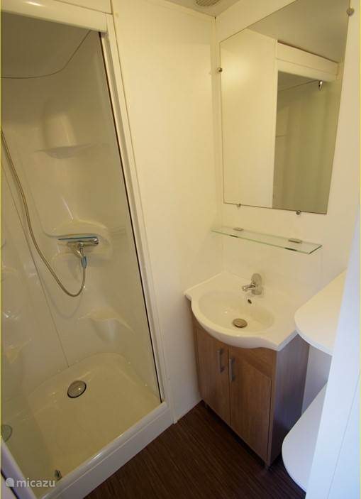 Shower cabin with sink